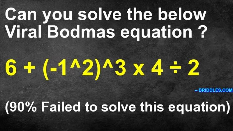 6 + (-1^2)^3 x 4 / 2 Maths Equation