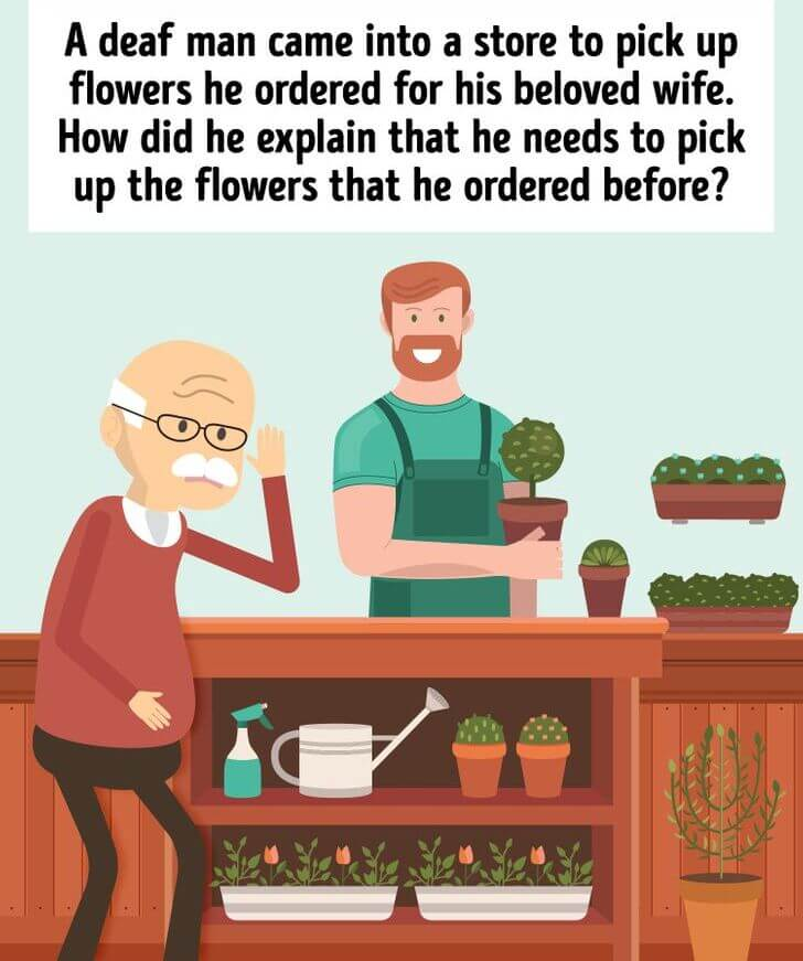 Deaf  Person Flower Brain Teaser