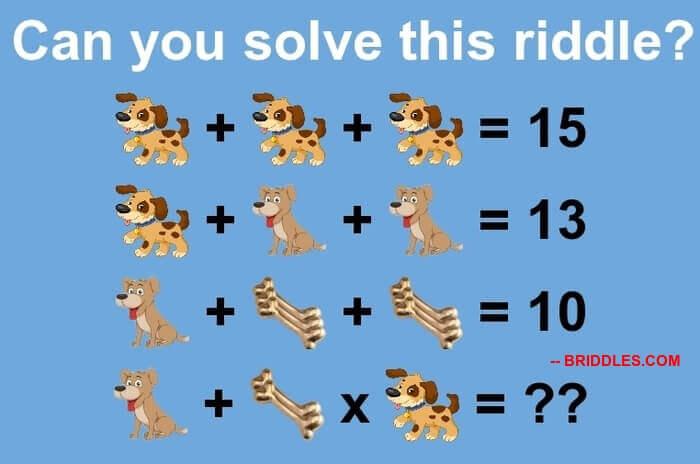 Two Dog And Bones Maths Algebraic Puzzle